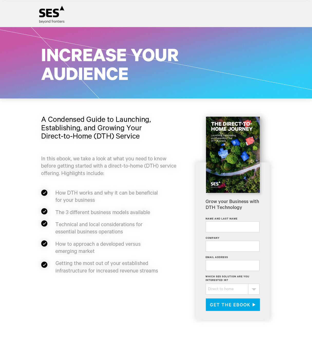 SES content marketing landing page